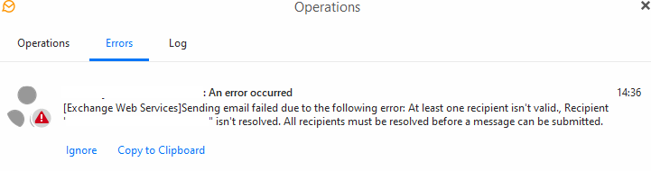 emClient error message