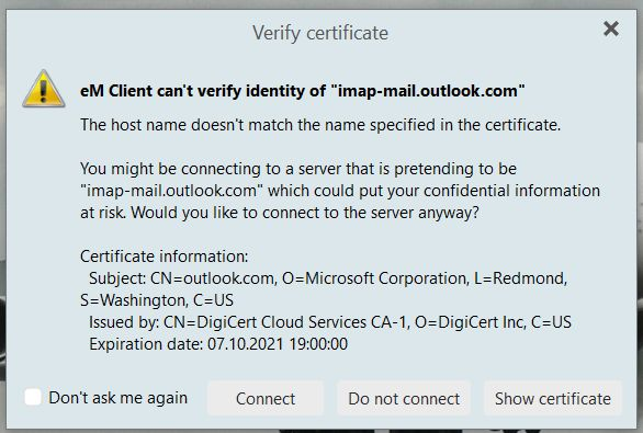 Outlook Certificate